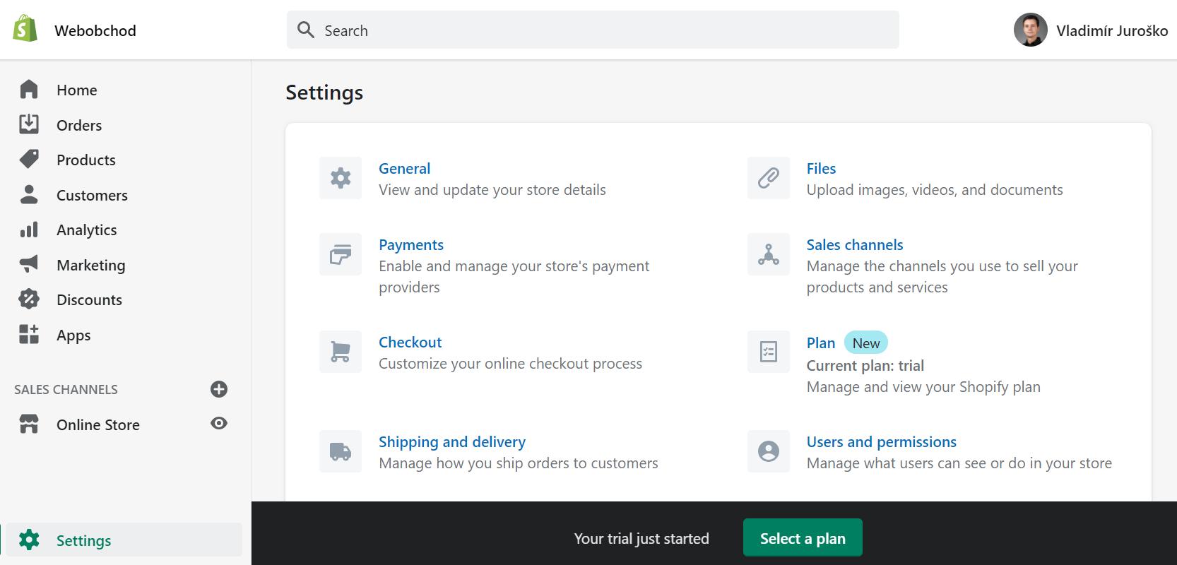 Nastavenia e-shopu